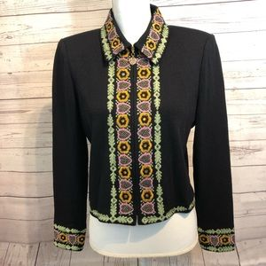 St. John collection Full Zip Embroidered jacket